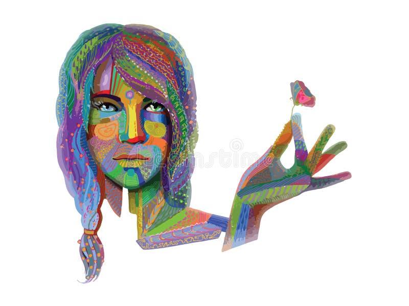 Mulher com textura colorida no branco ilustração stock
