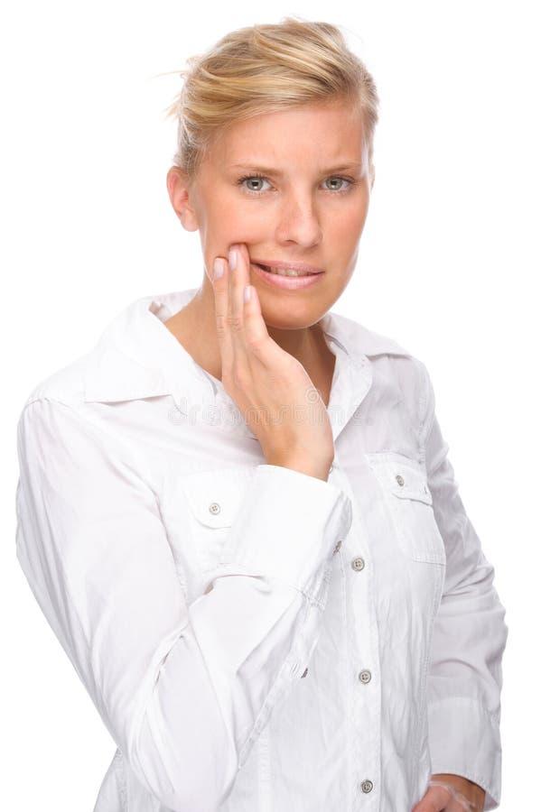 Mulher com toothache fotografia de stock royalty free