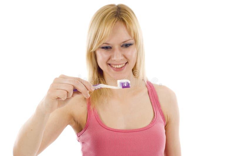 Mulher com Toothbrush fotos de stock