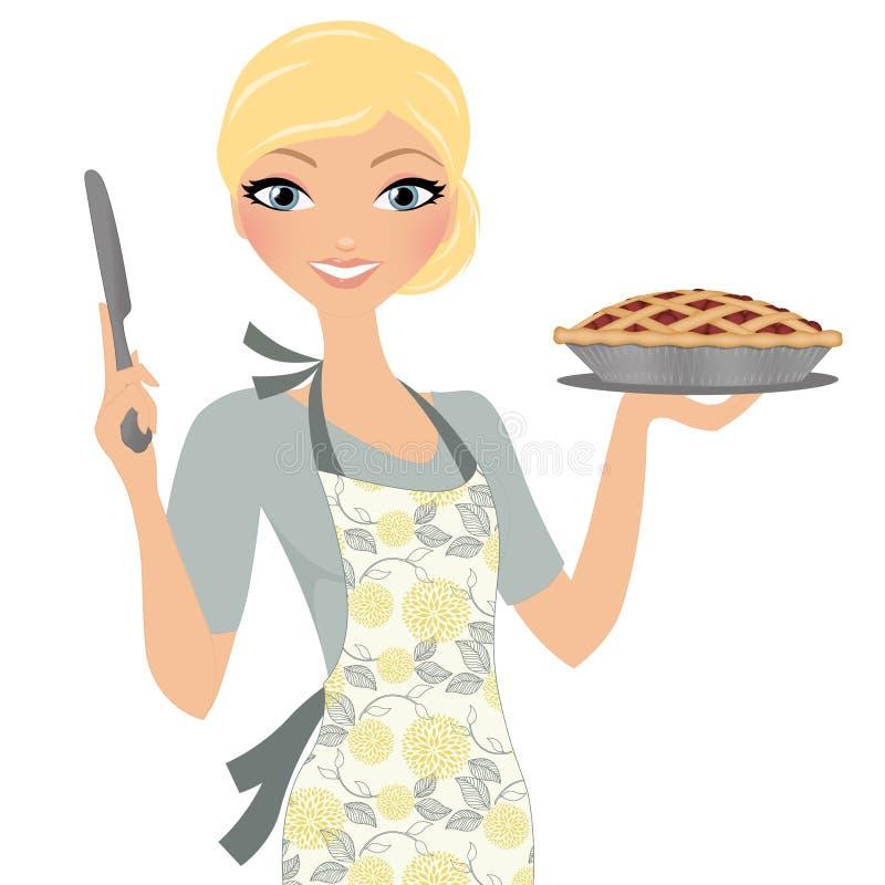 Mulher com torta da cereja ilustração stock