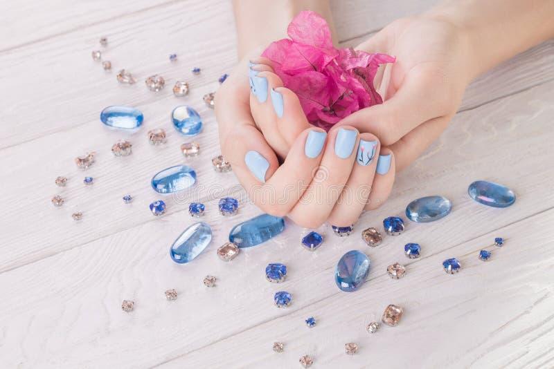 A mulher com tratamento de mãos azul guarda flores fotos de stock royalty free