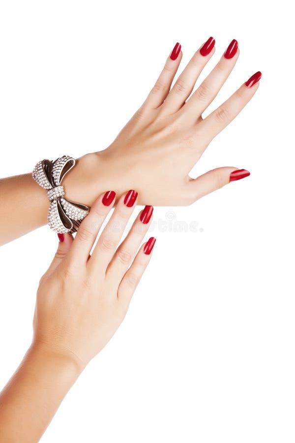 Mulher com tratamento de mãos e bracelete fotos de stock