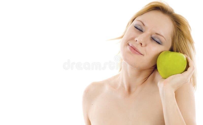Mulher com um Apple imagem de stock royalty free
