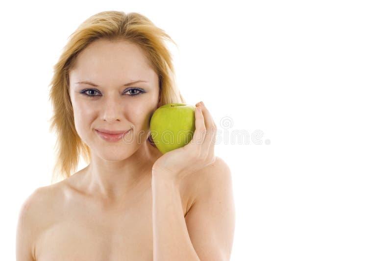 Mulher com um Apple fotos de stock