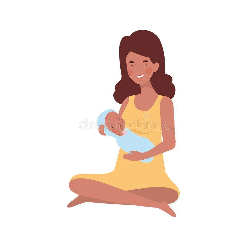 Mulher com um bebê recém-nascido em seus braços ilustração royalty free