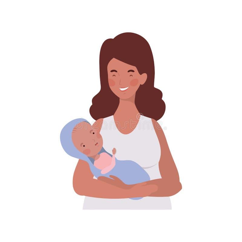 Mulher com um bebê recém-nascido em seus braços ilustração do vetor