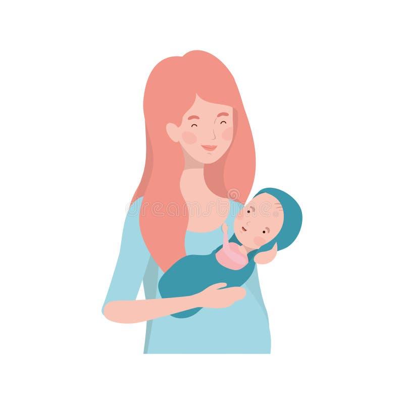 Mulher com um bebê recém-nascido em seus braços ilustração stock
