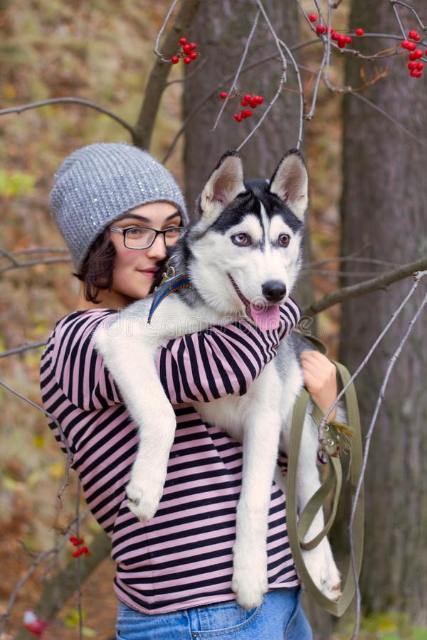 Mulher com um cão ronco no parque fotos de stock