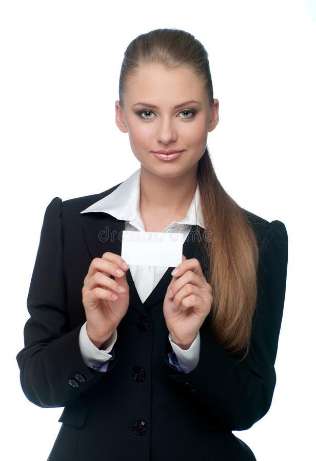 Mulher com um cartão fotografia de stock