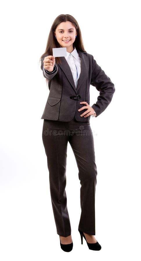 Mulher com um cartão imagens de stock