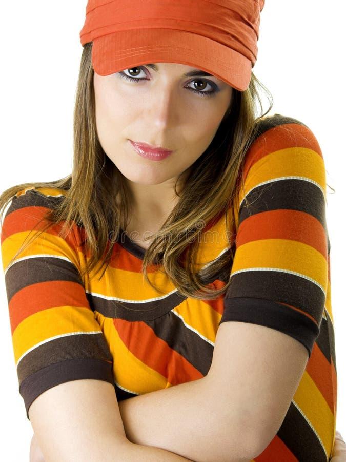 Mulher com um chapéu alaranjado fotografia de stock royalty free