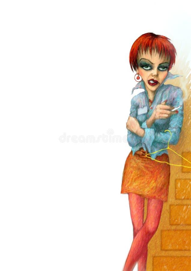 Mulher com um cigarro ilustração royalty free