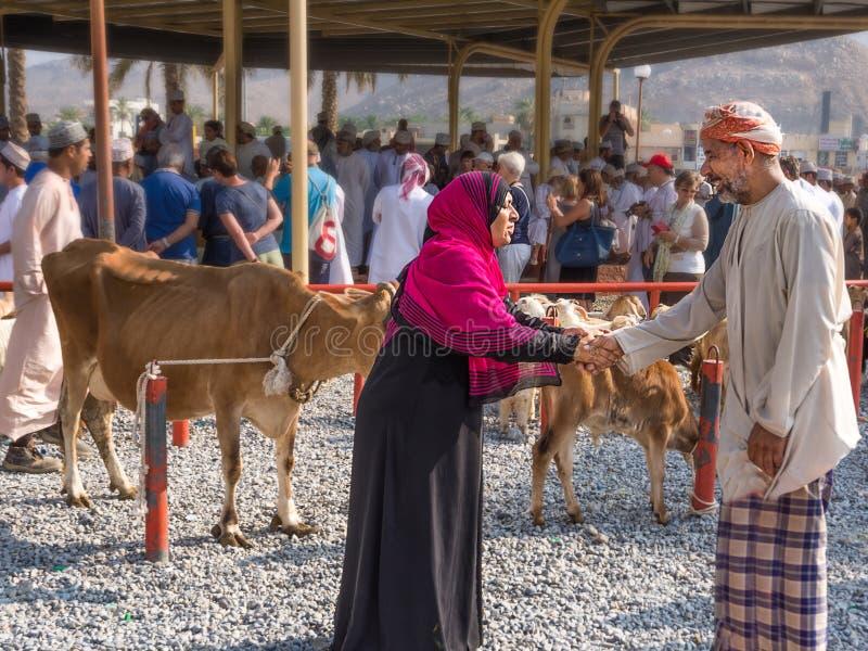 Mulher com um véu e mãos muçulmanas de uma agitação do homem para o acordo de compra no mercado animal de sexta-feira em Nizwa imagens de stock royalty free