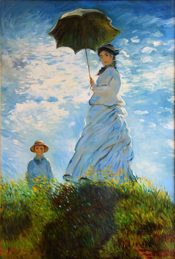Mulher com uma Parasol-senhora Monet imagens de stock