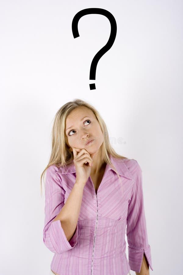 Mulher com uma pergunta imagens de stock royalty free