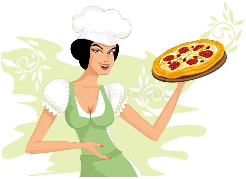 Mulher com uma pizza ilustração royalty free