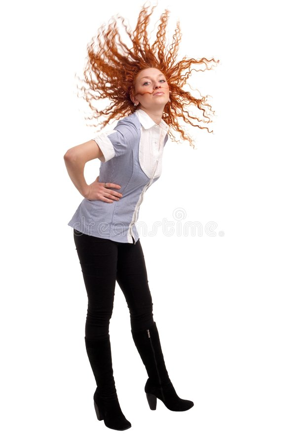 Mulher com vôo do cabelo imagem de stock