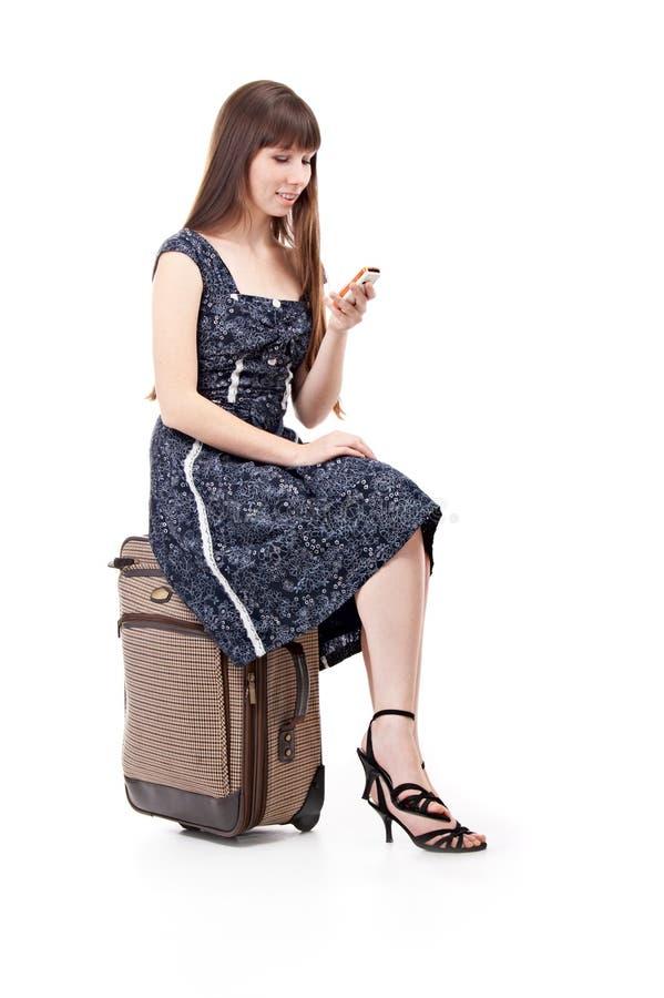 Mulher com valise fotografia de stock