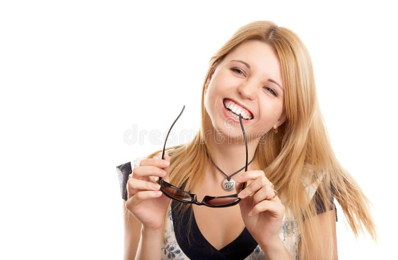 Download Mulher com vidros de sol foto de stock. Imagem de bonito - 12800352