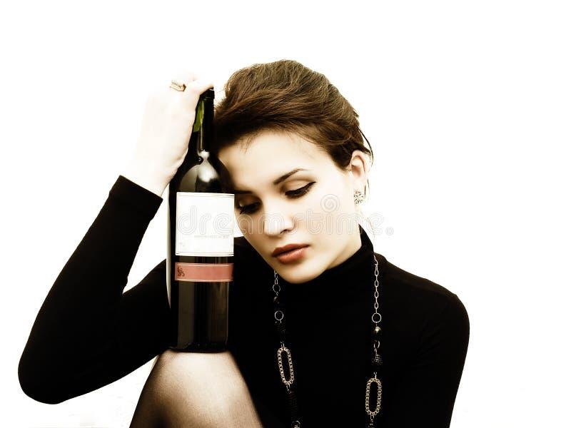 Mulher com vinho imagens de stock royalty free