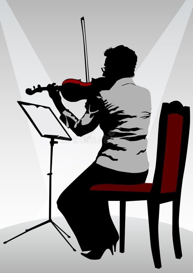 Mulher com violino ilustração stock