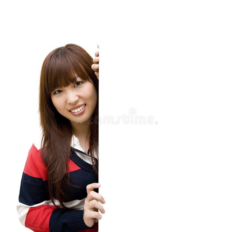 Mulher com whiteboard foto de stock