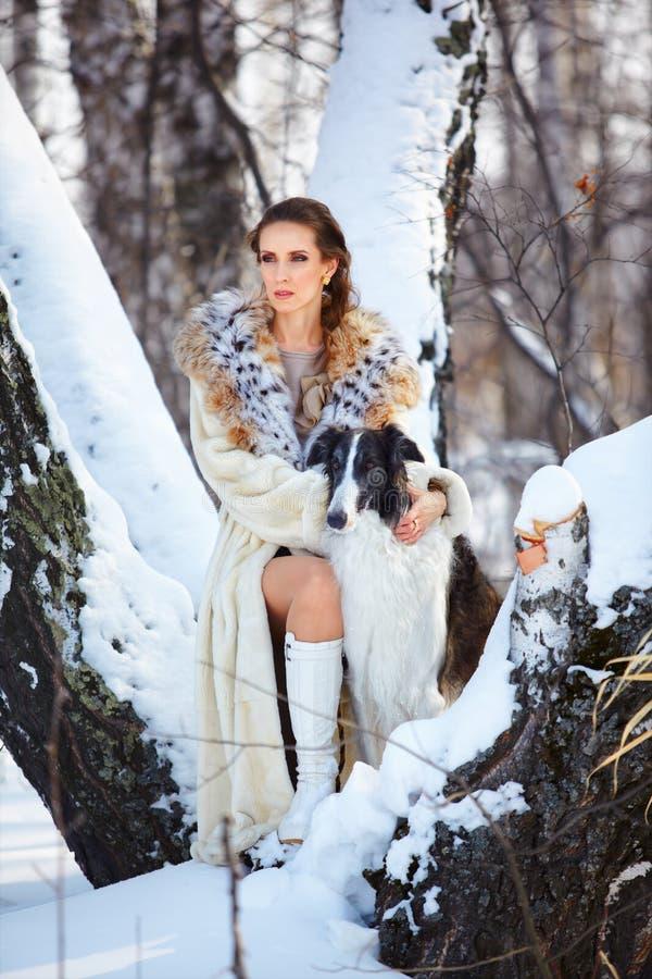 Mulher com wolfhound fora imagem de stock royalty free