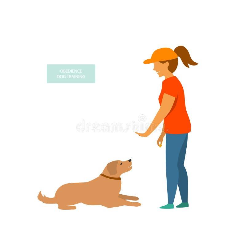 A mulher comandos básicos de formação de um cão isolou o vetor ilustração royalty free