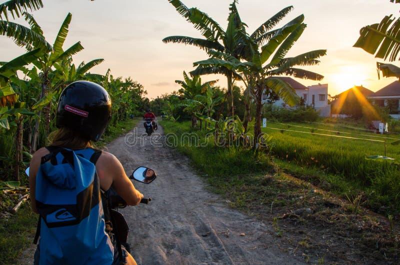 A mulher conduz com 'trotinette' ao longo de uma estrada menor na área de Canggu, Bali, Indonésia, em janeiro de 2017 imagens de stock