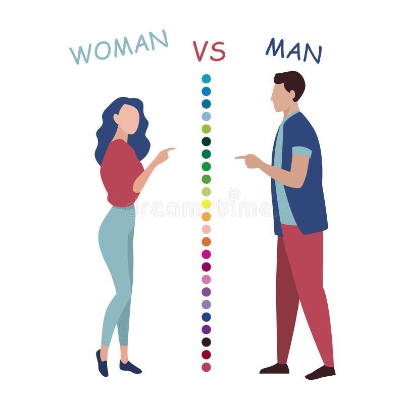 Mulher contra o homem, ilustração lisa do vetor da discussão ilustração stock