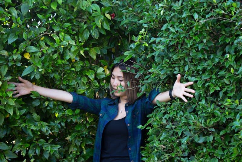 Mulher contra uma árvore foto de stock royalty free