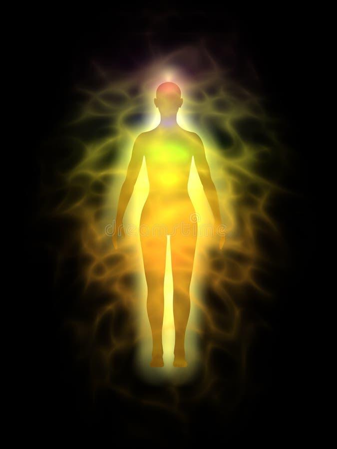 Mulher - corpo da energia - aura ilustração royalty free