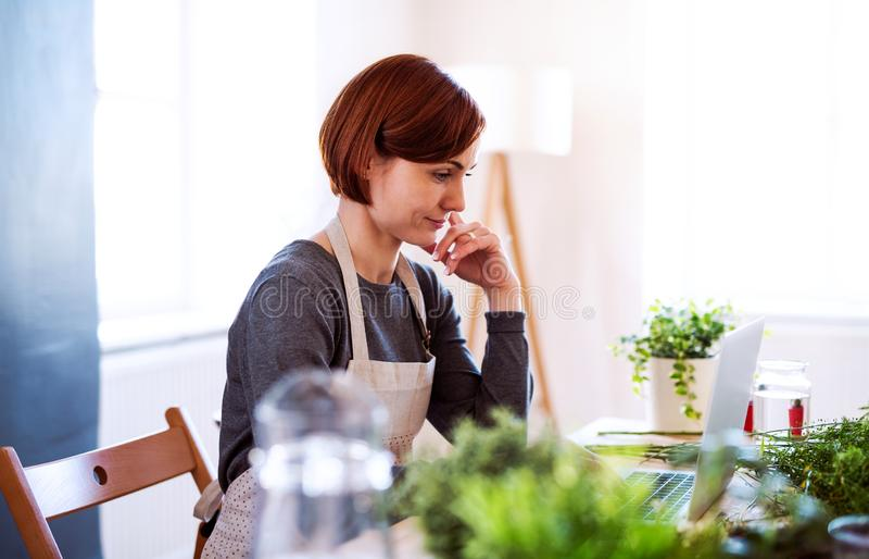 Mulher criativa nova em um florista, usando o portátil Uma partida do negócio do florista imagens de stock