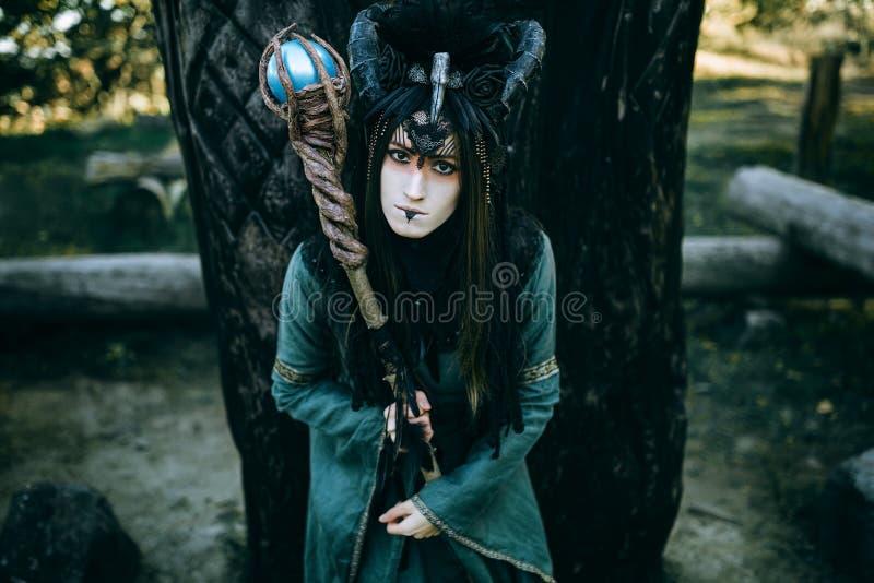 Mulher-curandeiro com chifres foto de stock
