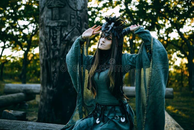 Mulher-curandeiro com chifres fotos de stock royalty free