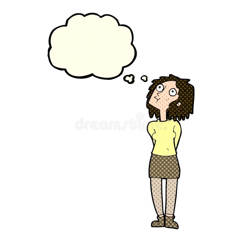 mulher curiosa dos desenhos animados com bolha do pensamento ilustração do vetor