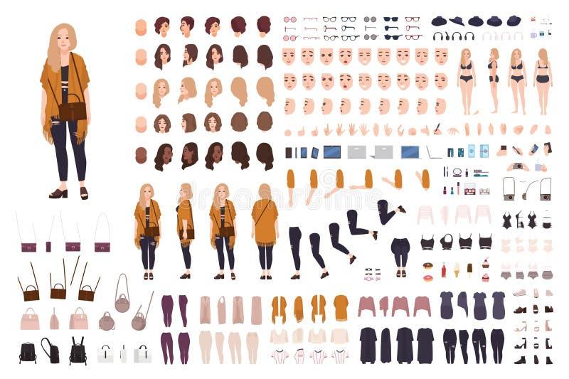 Mulher curvy gorda nova ou construtor positivo da menina do tamanho ou jogo de DIY Grupo de partes do corpo, expressões faciais,  ilustração do vetor