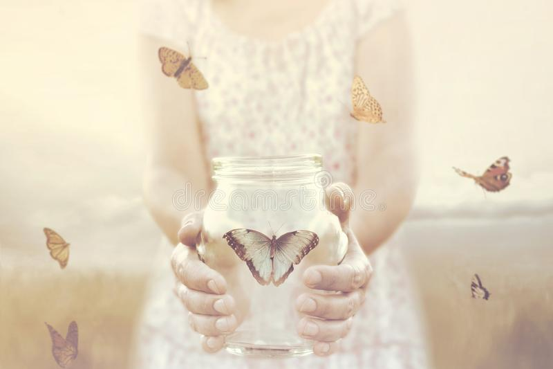 A mulher dá a liberdade a algumas borboletas fechadas em um vaso de vidro imagem de stock