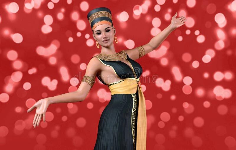 mulher 3D no traje de Cleopatra ilustração do vetor