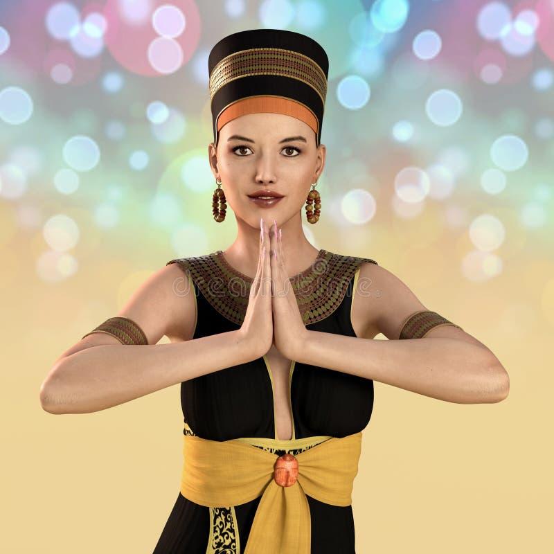 mulher 3D no traje de Cleopatra ilustração royalty free