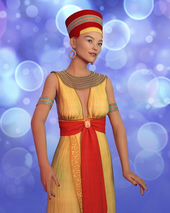 mulher 3D no traje de Cleopatra ilustração stock