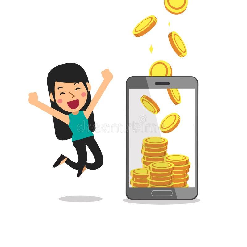 Mulher da ajuda do smartphone dos desenhos animados do conceito do negócio para ganhar o dinheiro ilustração royalty free