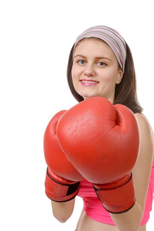 Download Mulher Da Aptidão Com As Luvas De Encaixotamento Vermelhas Foto de Stock - Imagem de combative, ocasional: 65575114
