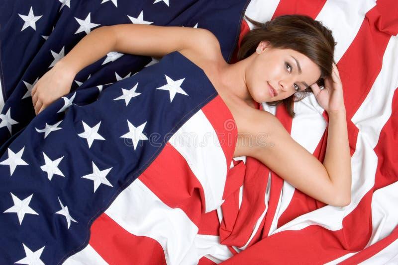 Mulher da bandeira americana fotografia de stock royalty free