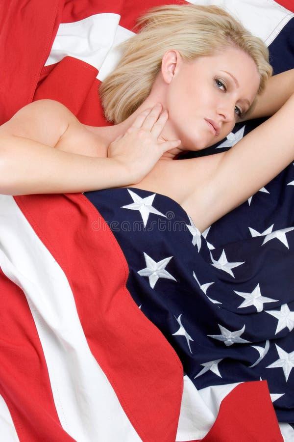 Mulher da bandeira americana fotografia de stock