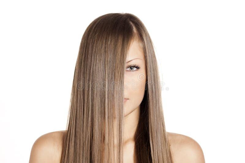 Mulher da beleza. cabelo longo imagem de stock