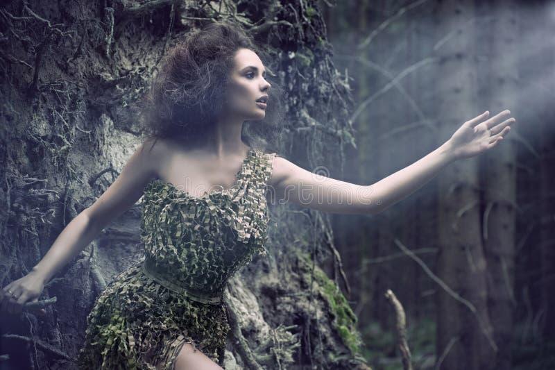 Mulher da beleza como uma parte da árvore imagens de stock royalty free