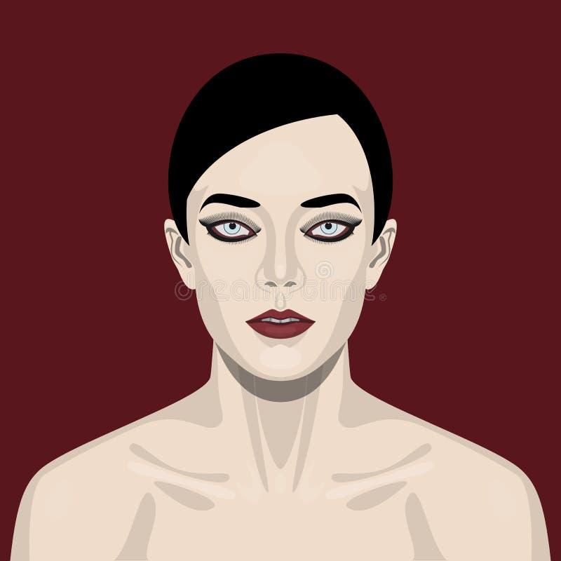 Mulher da beleza da forma com olhos fumarentos ilustração stock