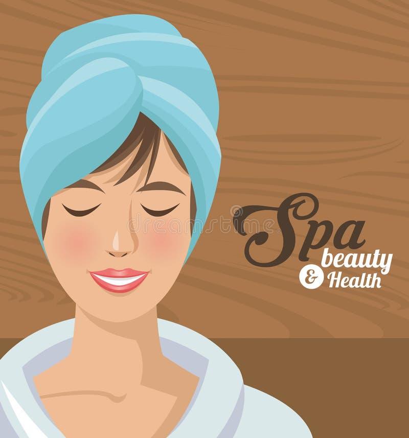 A mulher da beleza e da saúde dos termas que sorri com toalha dirige ilustração royalty free