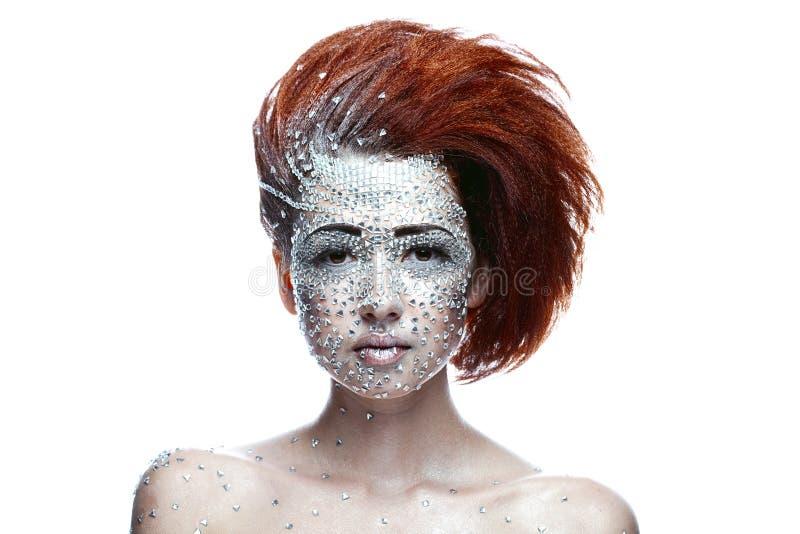 Mulher da beleza na composição futurista imagens de stock royalty free
